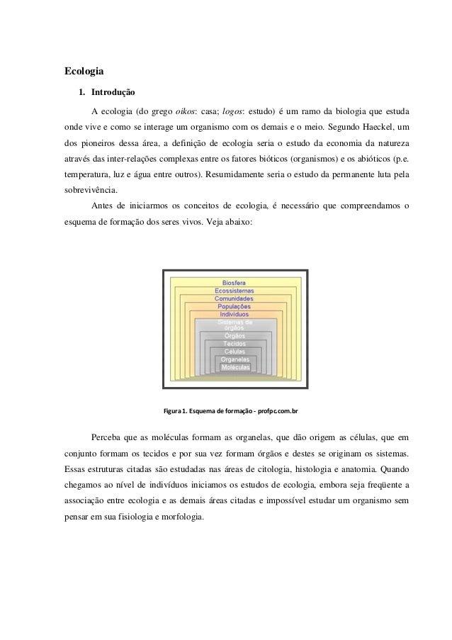 Ecologia 1. Introdução A ecologia (do grego oikos: casa; logos: estudo) é um ramo da biologia que estuda onde vive e como ...