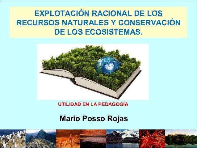 EXPLOTACIÓN RACIONAL DE LOS RECURSOS NATURALES Y CONSERVACIÓN DE LOS ECOSISTEMAS. Mario Posso Rojas UTILIDAD EN LA PEDAGOG...