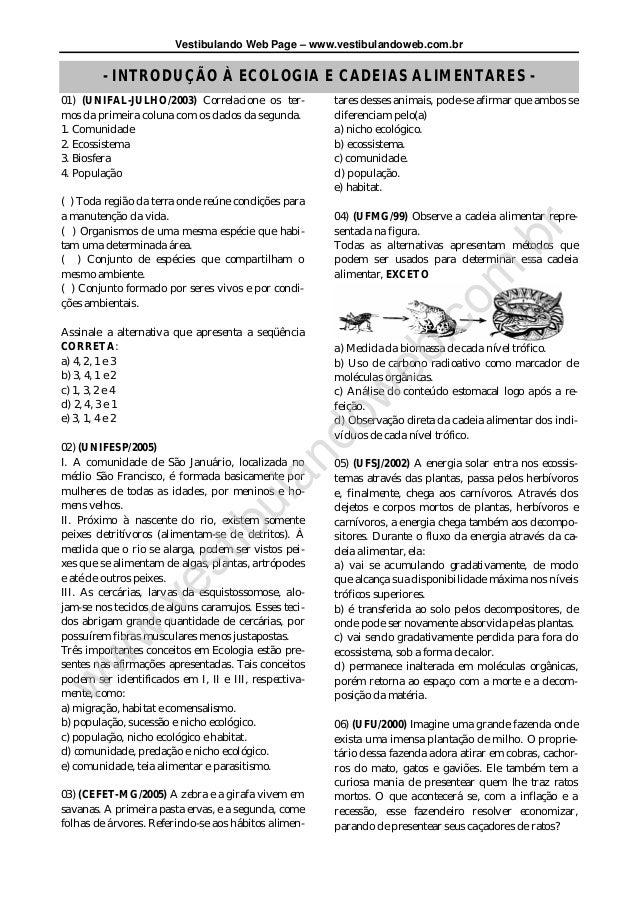 Vestibulando Web Page – www.vestibulandoweb.com.br        - INTRODUÇÃO À ECOLOGIA E CADEIAS ALIMENTARES -01) (UNIFAL-JULHO...