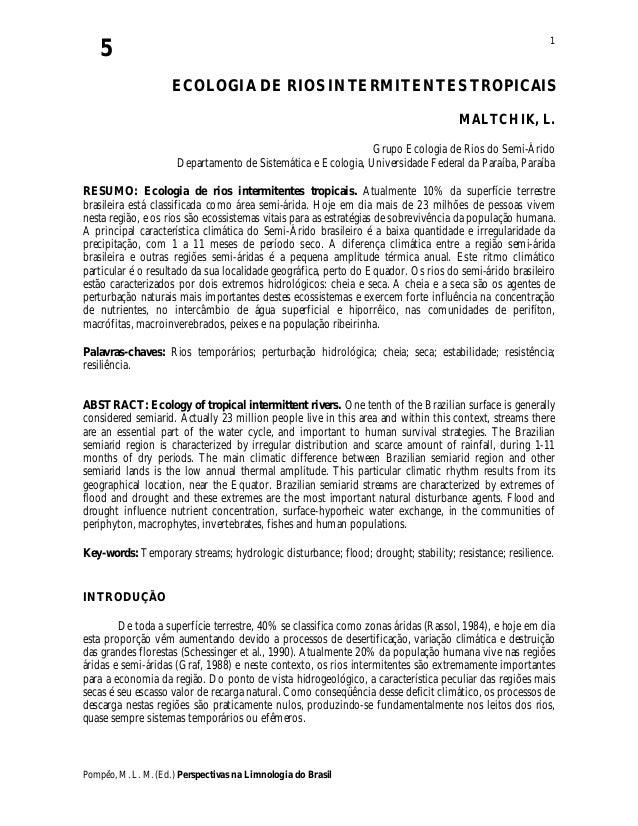 5 Pompêo, M. L. M. (Ed.) Perspectivas na Limnologia do Brasil 1 ECOLOGIA DE RIOS INTERMITENTES TROPICAIS MALTCHIK, L. Grup...