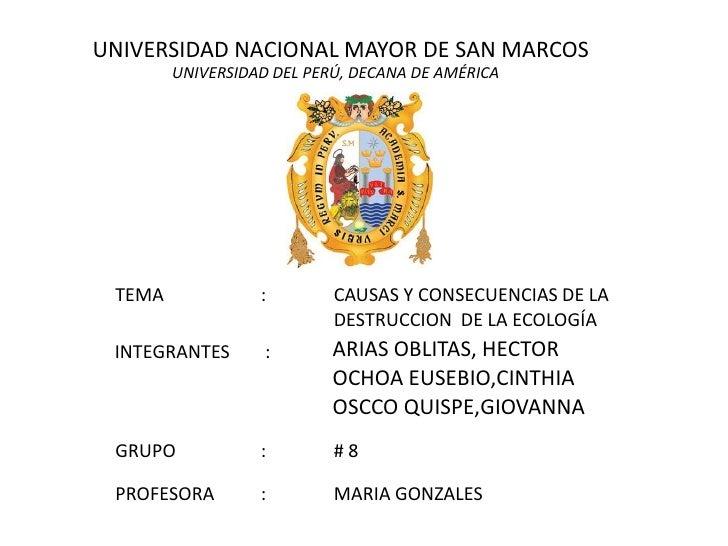 UNIVERSIDAD NACIONAL MAYOR DE SAN MARCOS<br />UNIVERSIDAD DEL PERÚ, DECANA DE AMÉRICA<br />TEMA: CAUSAS Y CONSECUENCIAS...