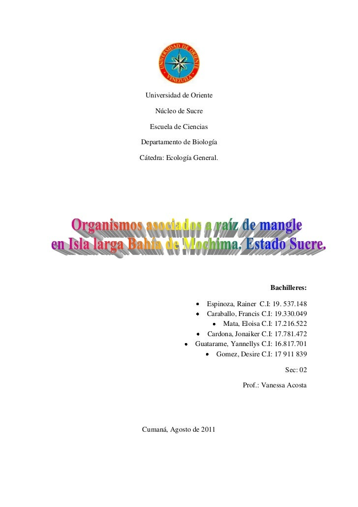Universidad de Oriente     Núcleo de Sucre   Escuela de CienciasDepartamento de BiologíaCátedra: Ecología General.        ...