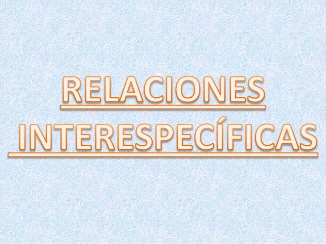 LAS RELACIONES INTERESPECÍFICASEs la interacción que tiene lugar en una comunidad entre 2 individuoso más de especies dife...