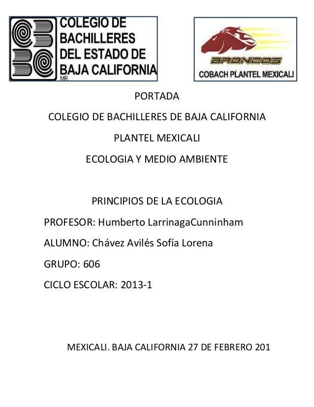 PORTADACOLEGIO DE BACHILLERES DE BAJA CALIFORNIA              PLANTEL MEXICALI        ECOLOGIA Y MEDIO AMBIENTE         PR...