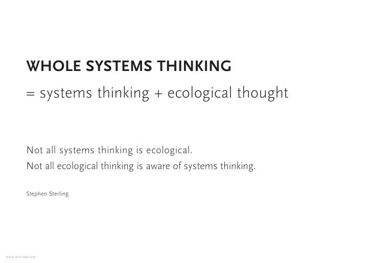 WHOLE SYSTEMS THINKING           = systems thinking + ecological thought             Not all systems thinking is ecologica...