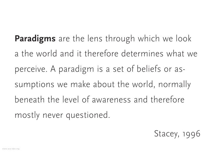 Paradigms are the lens through which we look            a the world and it therefore determines what we            perceiv...