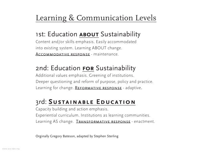 Learning & Communication Levels                    1st: Education about Sustainability                    Content and/or s...