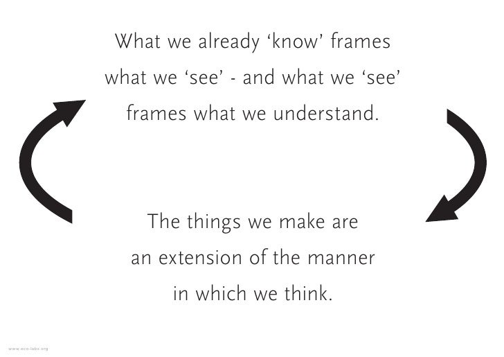 What we already 'know' frames                    what we 'see' - and what we 'see'                      frames what we und...