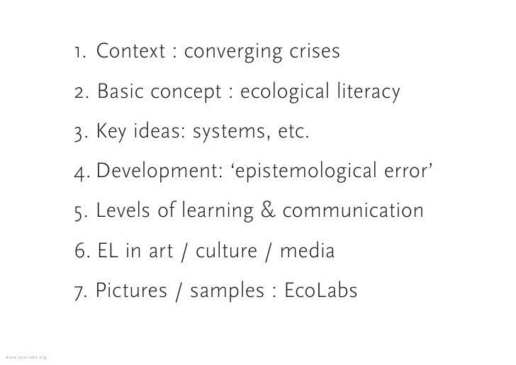1. Context : converging crises                    2. Basic concept : ecological literacy                    3. Key ideas: ...