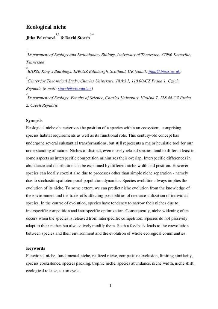 Ecological niche                   1,2                    3,4Jitka Polechová          & David Storch1    Department of Eco...