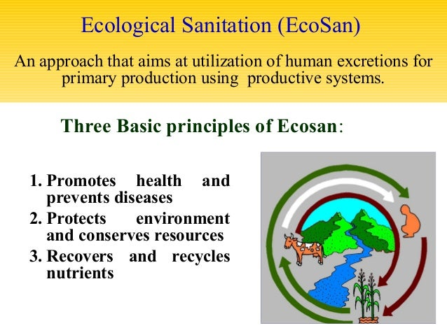 sanitation ecological sanitation Ecological sanitation ecological sanitation (ecosan) is a concept that treats various types of waste generated by us as a resource which can be safely.