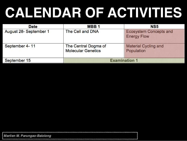CALENDAR OF ACTIVITIES Marilen M. Parungao-Balolong