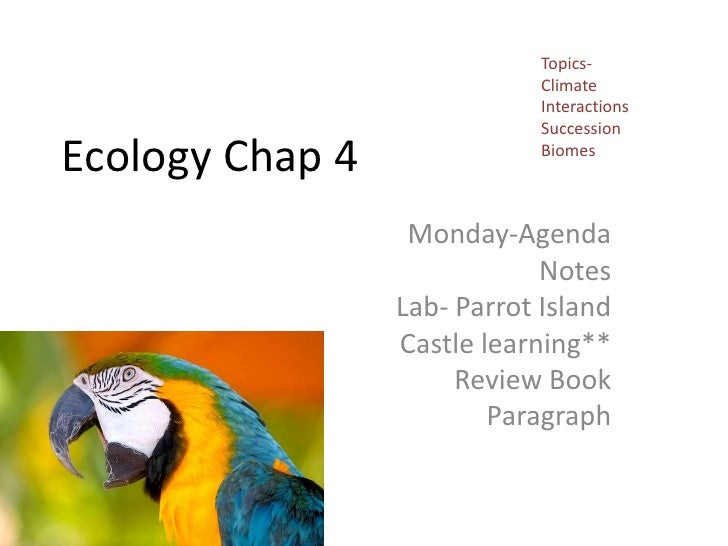 Topics-<br />Climate<br />Interactions<br />Succession<br />Biomes<br />Ecology Chap 4<br />Monday-Agenda<br />Notes<br />...