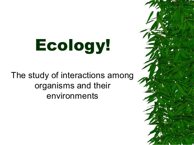Ecology! The study of interactions among organisms and their environments