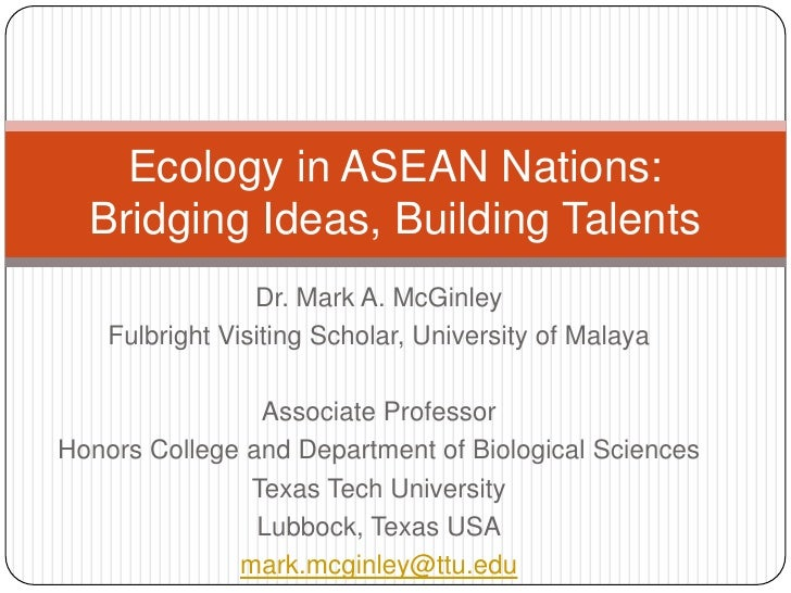 Dr. Mark A. McGinley<br />Fulbright Visiting Scholar, University of Malaya<br />Associate Professor<br />Honors College an...