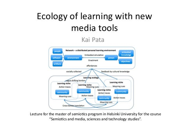 Ecologyoflearningwithnew mediatools Lectureforthemasterofsemio6csprograminHelsinkiUniversityforthecours...