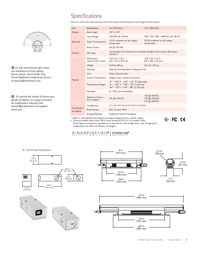 eColor Cove EC Powercore Product Guide 3 Specifications Due to continuous improvements and innovations, specifications...