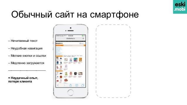 Обычный сайт на смартфоне – Нечитаемый текст – Неудобная навигация – Мелкие кнопки и ссылки – Медленно загружается ———————...