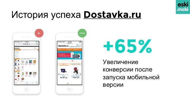История успеха Dostavka.ru +65% Увеличение конверсии после запуска мобильной версии