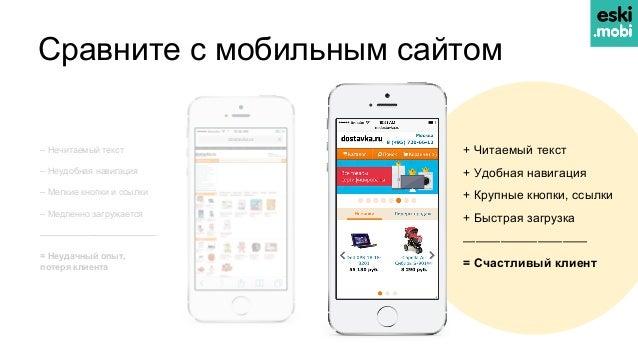 Сравните с мобильным сайтом + Читаемый текст + Удобная навигация + Крупные кнопки, ссылки + Быстрая загрузка —————————— = ...