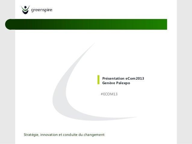 Présentation eCom2013Genève Palexpo#ECOM13Stratégie, innovation et conduite du changement