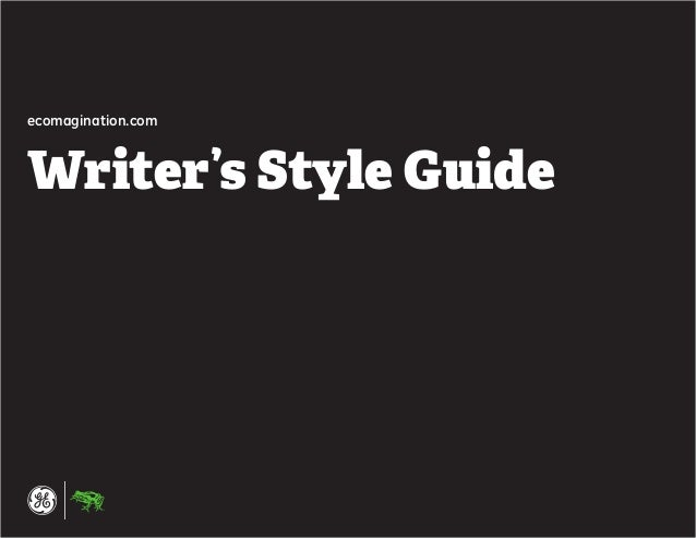 1 ecomagination.com Writer's Style Guide