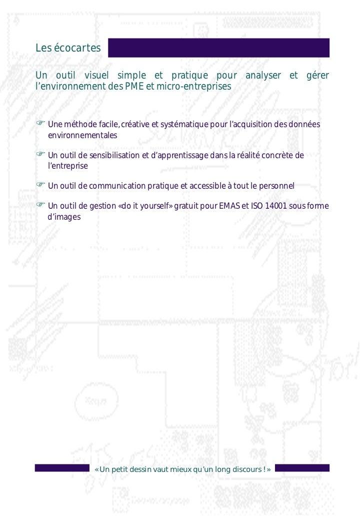 Les écocartesUn outil visuel simple et pratique pour analyser et gérerl'environnement des PME et micro-entreprisesF Une mé...