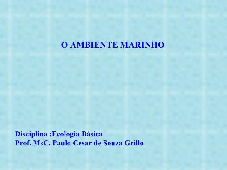 O AMBIENTE MARINHO Disciplina :Ecologia Básica Prof. MsC. Paulo Cesar de Souza Grillo