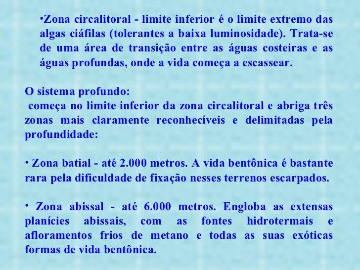<ul><ul><ul><li>Zona circalitoral - limite inferior é o limite extremo das algas ciáfilas (tolerantes a baixa luminosidade...