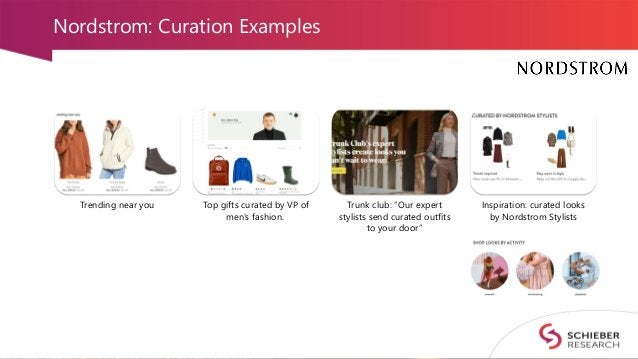"""Nordstrom: Curation Examples Trending near you Top gifts curated by VP of men's fashion. Trunk club: """"Our expert stylists ..."""