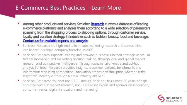 E-Commerce Best Practices – Learn More • Among other products and services, Schieber Research curates a database of leadin...