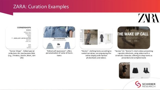"""ZARA: Curation Examples """"Corner Shops"""" - Edited special collections for men/women/kids (e.g., Timeless, Denim, Mom, Join L..."""