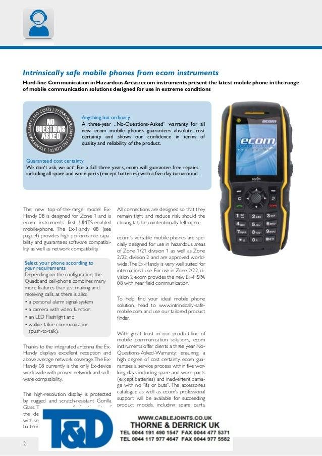 Ecom EX-Handy 08 ATEX Hazardous Area Mobile Phone Datasheet