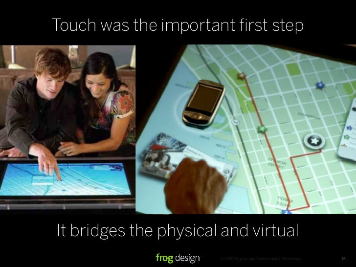 Touch was the important first step     It bridges the physical and virtual                        © 2007 frog design. Confid...