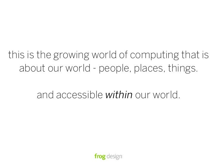 this is the growing world of computing that is    about our world - people, places, things.        and accessible within o...