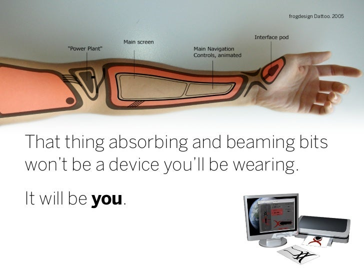 frogdesign Dattoo. 2005     That thing absorbing and beaming bits won't be a device you'll be wearing. It will be you.