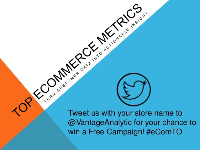 Tweet us with your store name to @VantageAnalytic for your chance to win a Free Campaign! #eComTO