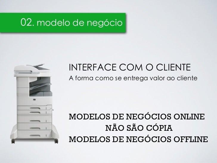 02. modelo de negócio         INTERFACE COM O CLIENTE         A forma como se entrega valor ao cliente         MODELOS DE ...