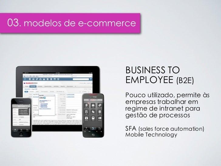 03. modelos de e-commerce                      BUSINESS TO                      EMPLOYEE (B2E)                      Pouco ...