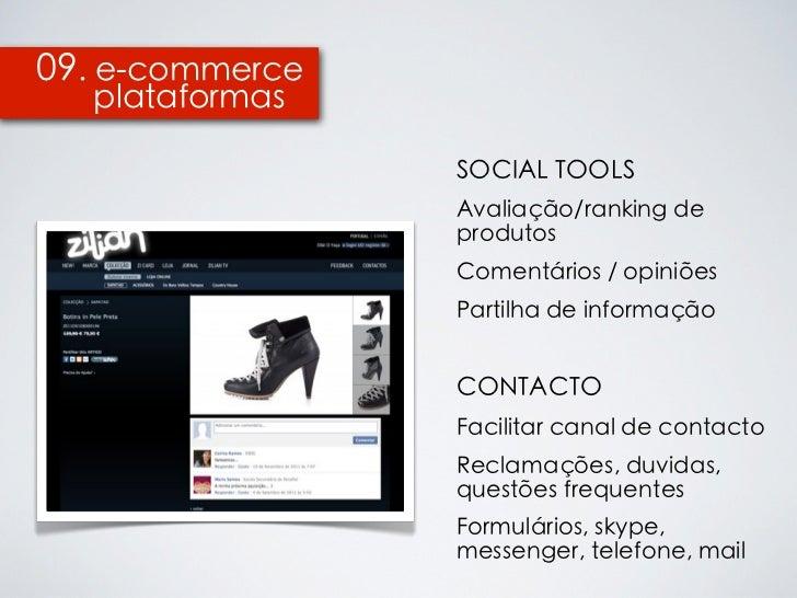 09. e-commerce  plataformas                 SOCIAL TOOLS                 Avaliação/ranking de                 produtos    ...