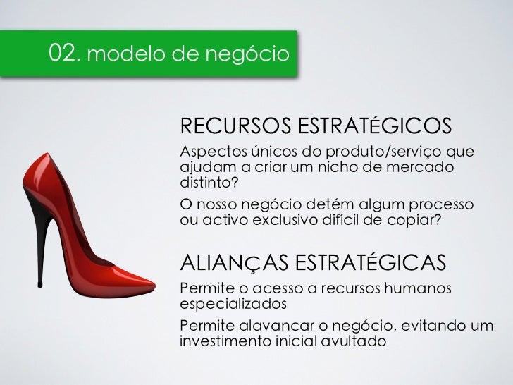 02. modelo de negócio           RECURSOS ESTRATÉGICOS           Aspectos únicos do produto/serviço que           ajudam a ...