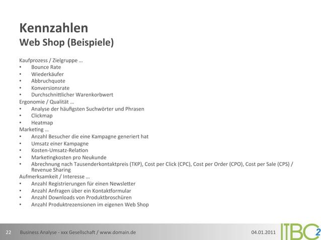 Kennzahlen          Web Shop (Beispiele)          Kaufprozess / Zielgruppe …          •  Bounce Rate ...