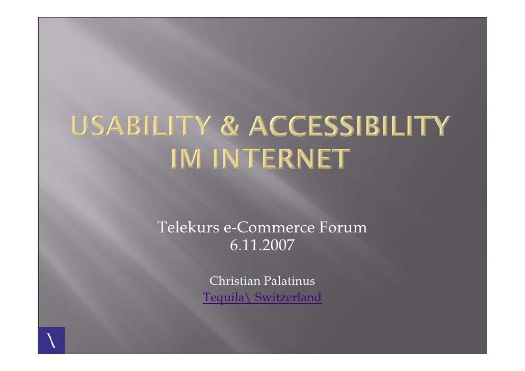 Telekurs e-Commerce Forum           6.11.2007        Christian Palatinus      Tequila Switzerland