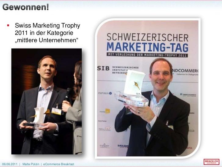 """Swiss Marketing Trophy2011 in der Kategorie""""mittlere Unternehmen""""<br />Gewonnen!<br />"""