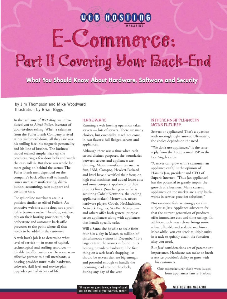 E-Commerce: Part II Covering Your Back-End          What You Should Know About Hardware, Software and Security   by Jim Th...