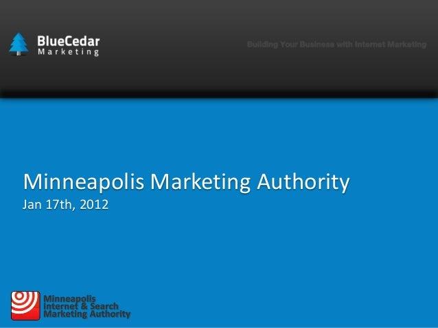 Minneapolis Marketing Authority Jan 17th, 2012