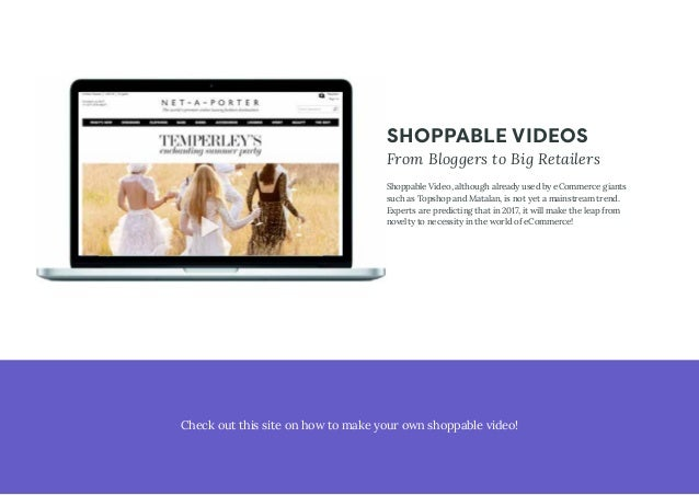 SHOPPABLE VIDEOS From Bloggers to Big Retailers Shoppable Video, although already used by eCommerce giants such as Topshop...