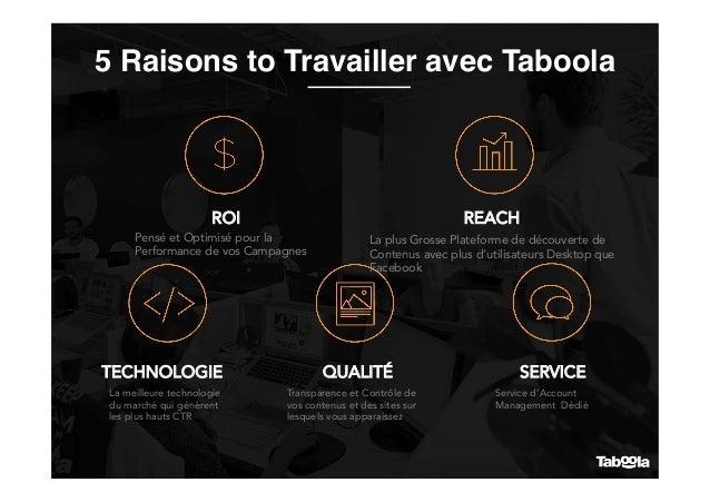 5 Raisons to Travailler avec Taboola ROI REACH TECHNOLOGIE QUALITÉ SERVICE Pensé et Optimisé pour la Performance de vos Ca...