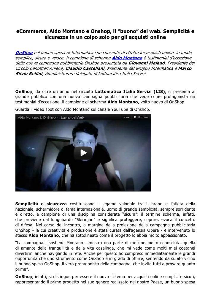 """eCommerce, Aldo Montano e Onshop, il """"buono"""" del web. Semplicità e        sicurezza in un colpo solo per gli acquisti onli..."""