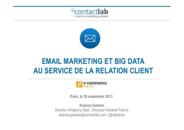 Arianna Galante Director of Agency Dept., Directeur Général France arianna.galante@contactlab.com | @digitalzia Paris, le ...